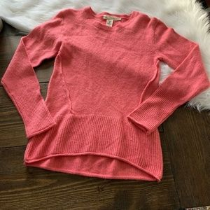 H&M Womans Small Pink Ribbed Crew Neck Hi Low Tuni